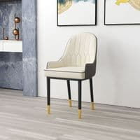 Gatsby & Alexander  DINING SET - White Marble Dining Table and Six Faux Leather Chairs